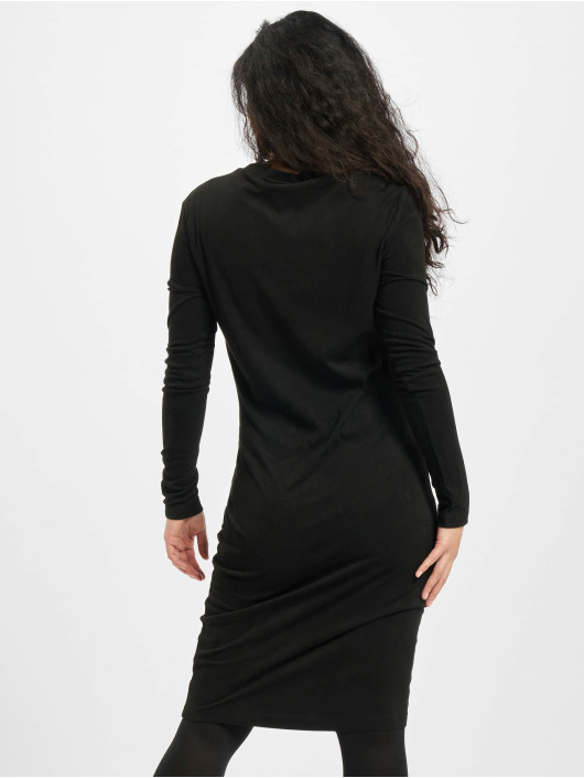 Urban Classics jurk Ladies Peached Rib LS zwart