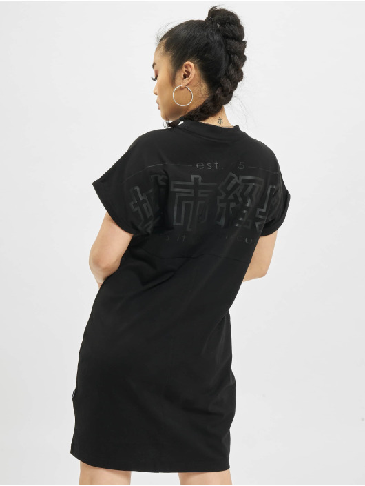 Urban Classics jurk Cut On Sleeve Printed zwart