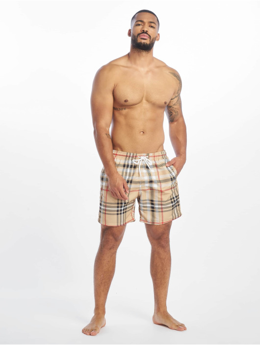 Urban Classics Kúpacie šortky Check béžová