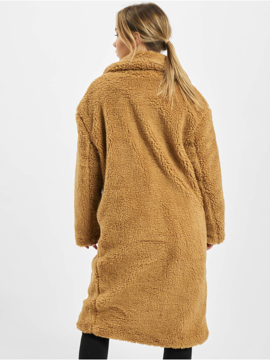 Urban Classics Kabáty Ladies Oversized Teddy hnedá