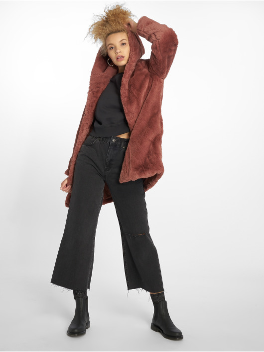 Urban Classics Kabáty Hooded Teddy ružová