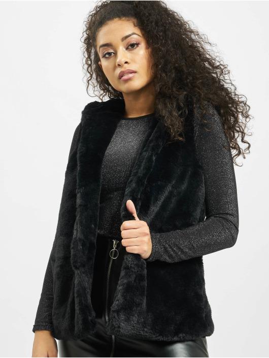 Urban Classics Kamizelki Ladies Hooded Faux Fur czarny