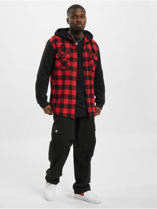 Urban Classics Košele Hooded Checked Flanell Sweat Sleeve èervená
