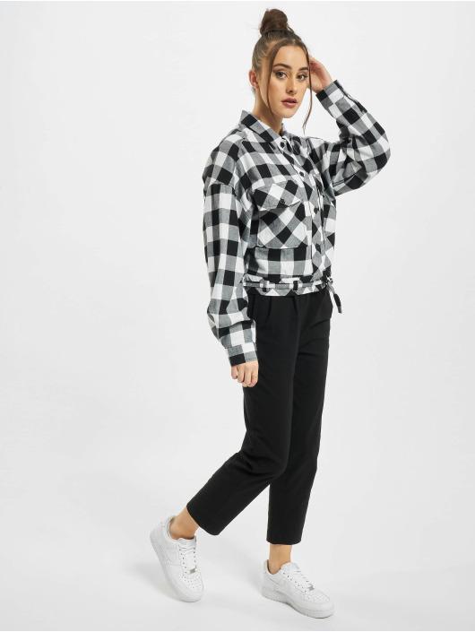 Urban Classics Košele Ladies Short Oversized Check èierna