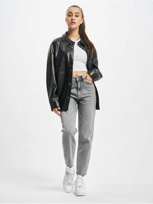 Urban Classics Košile Ladies Faux Leather čern