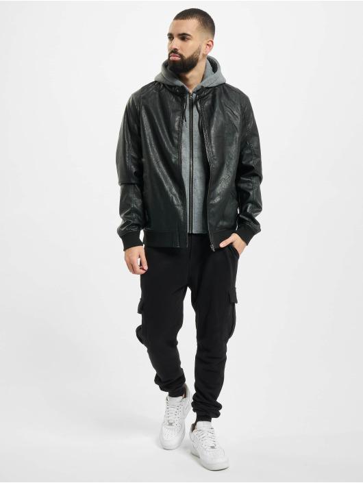 Urban Classics Kožené bundy Fleece Hooded Fake Leather čern