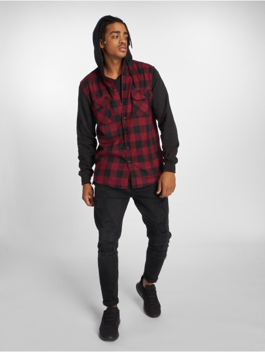 Urban Classics Koszule Hooded Checked Flanell czerwony