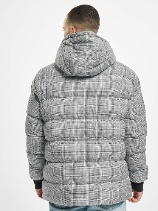 Urban Classics Kurtki pikowane Hooded Check bialy