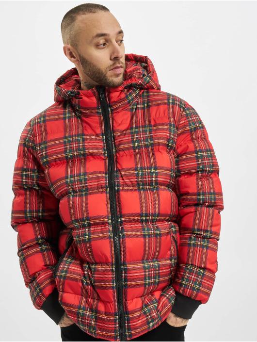 Urban Classics Kurtki pikowane Hooded Check czerwony