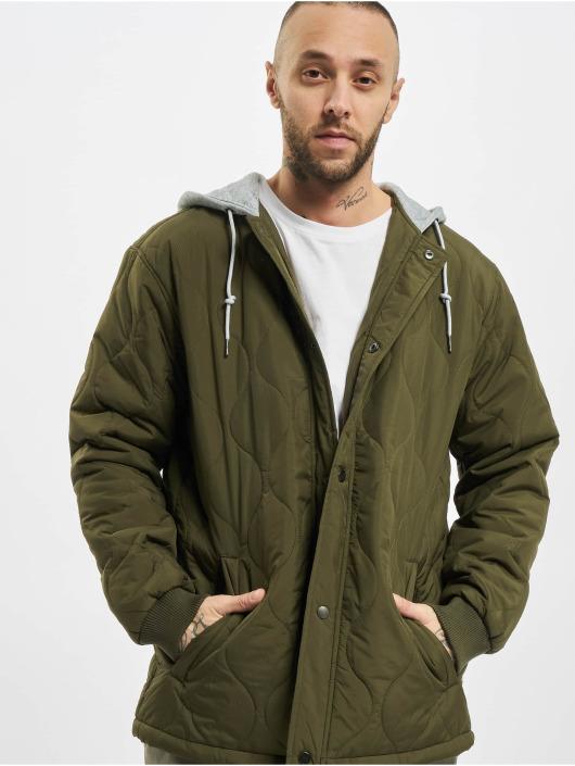 Urban Classics Kurtki przejściowe Quilted Hooded oliwkowy