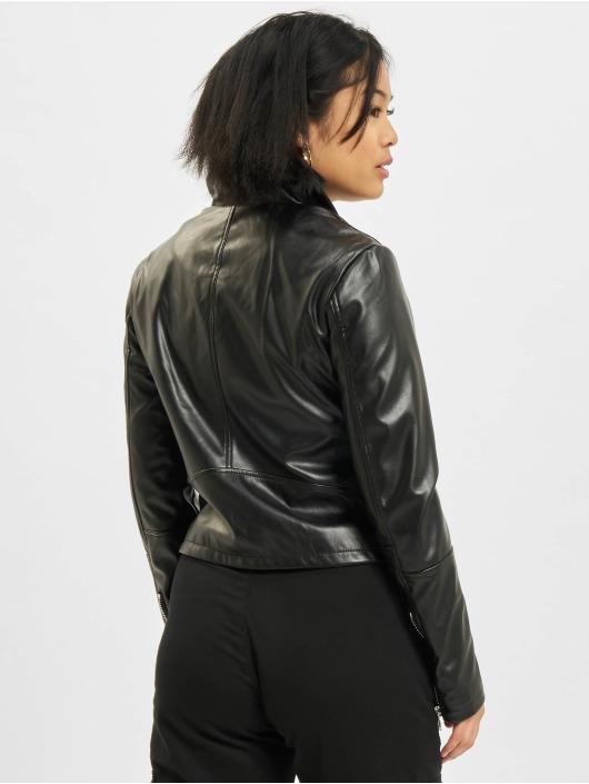 Urban Classics Kurtki skórzane Faux Leather Biker czarny