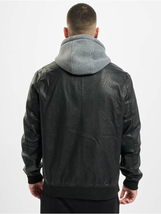Urban Classics Kurtki skórzane Fleece Hooded Fake Leather czarny