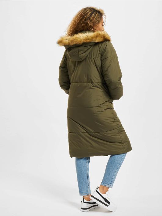 Urban Classics Kurtki zimowe Oversize Faux Fur oliwkowy