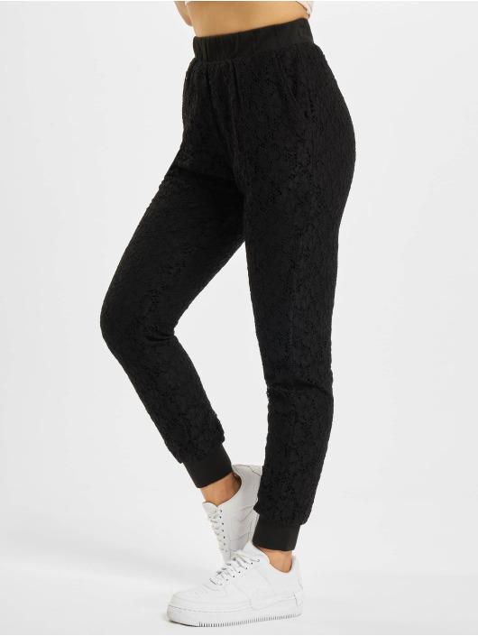 Urban Classics Látkové kalhoty Lace Jersey Jog čern