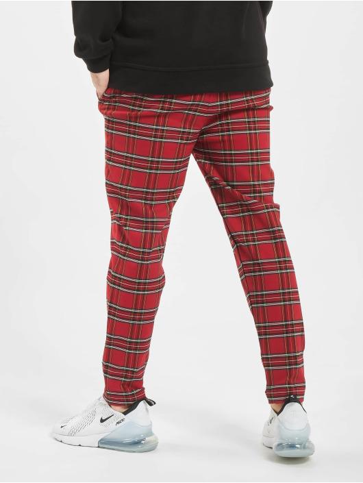Urban Classics Látkové kalhoty Tartan červený