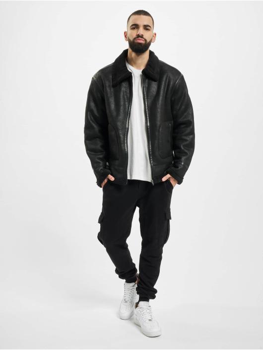 Urban Classics Lederjacke Shearling schwarz