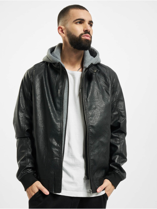 Urban Classics Lederjacke Fleece Hooded Fake Leather schwarz