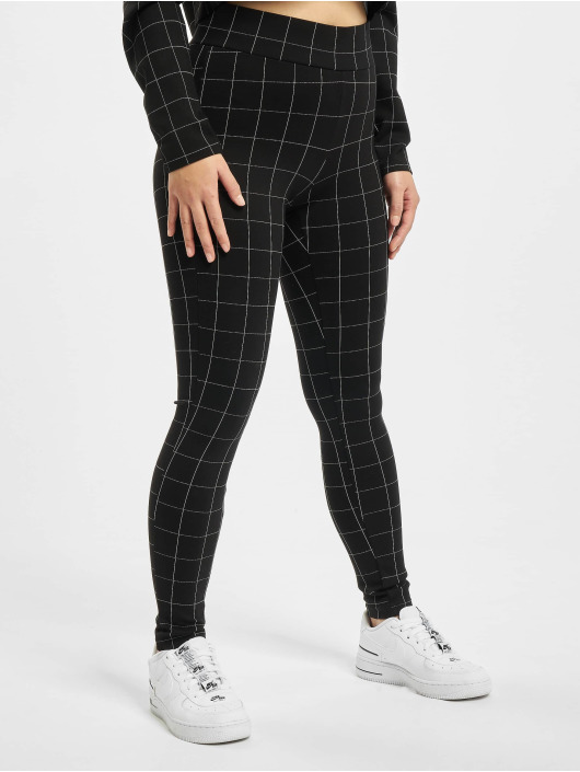 Urban Classics Legíny/Tregíny Ladies Check High Waist èierna