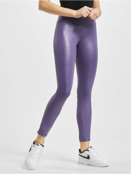 Urban Classics Legging Imitation Leather paars
