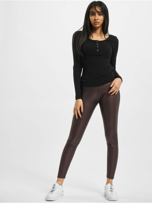 Urban Classics Legging Ladies Faux Leather High Waist rood