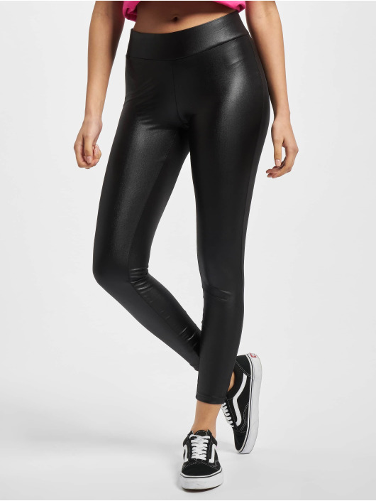 Urban Classics Legging Ladies Imitation Leather zwart
