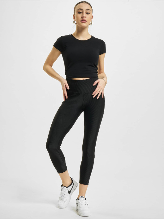 Urban Classics Leggings High Waist Shiny Rib Pedal Pusher nero