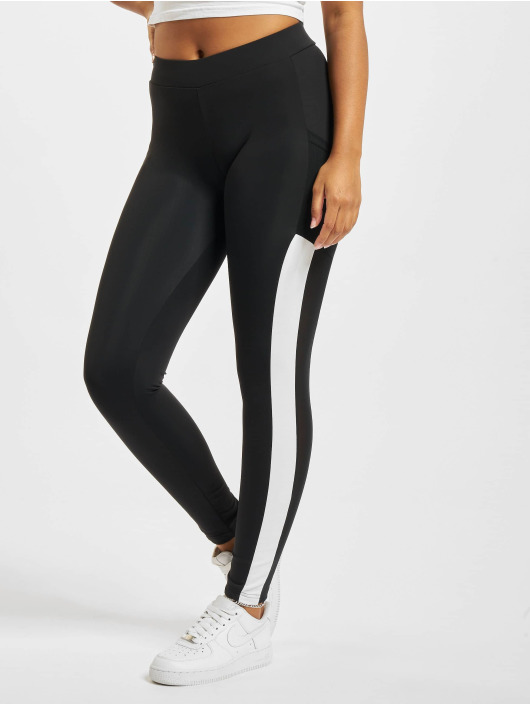 Urban Classics Leggings Tech Mesh Striped Pocket svart