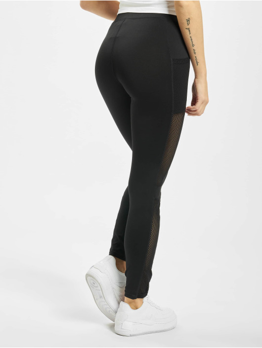 Urban Classics Leggings Ladies Mesh Side Stripe svart