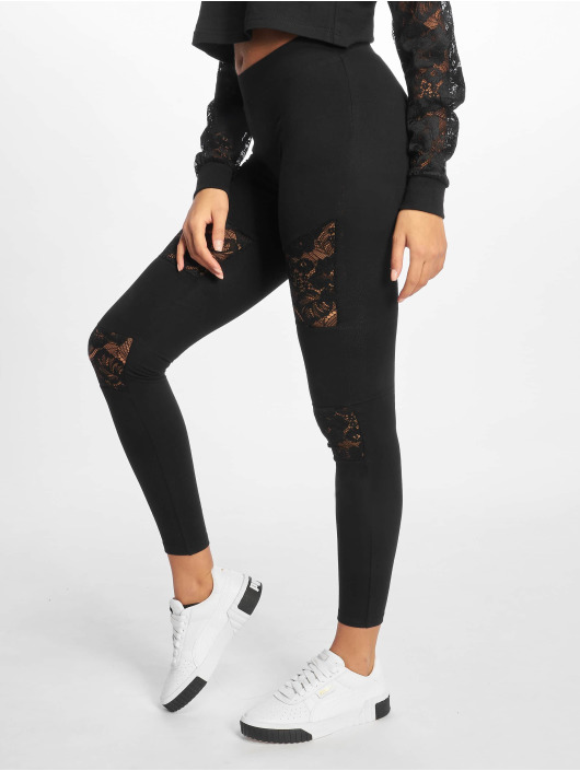 Urban Classics Leggings/Treggings Laces Inset czarny