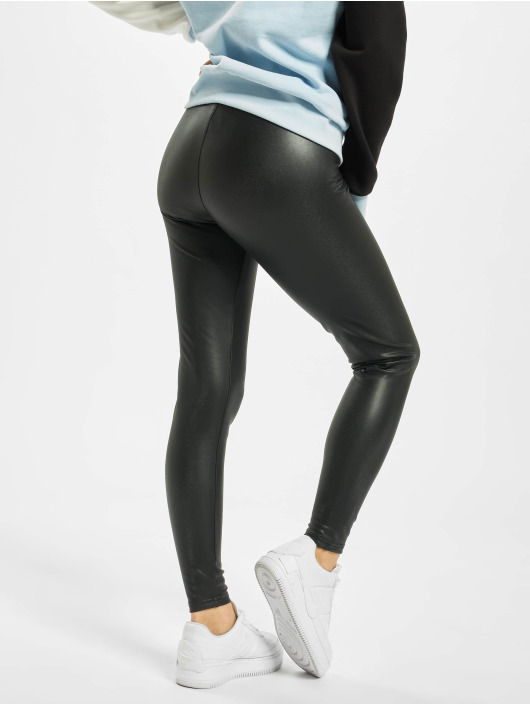 Urban Classics Leggings/Treggings Ladies Faux Leather High Waist czarny