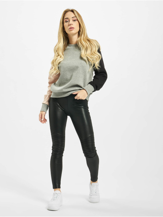 Urban Classics Leggings/Treggings Ladies Faux Leather Biker czarny