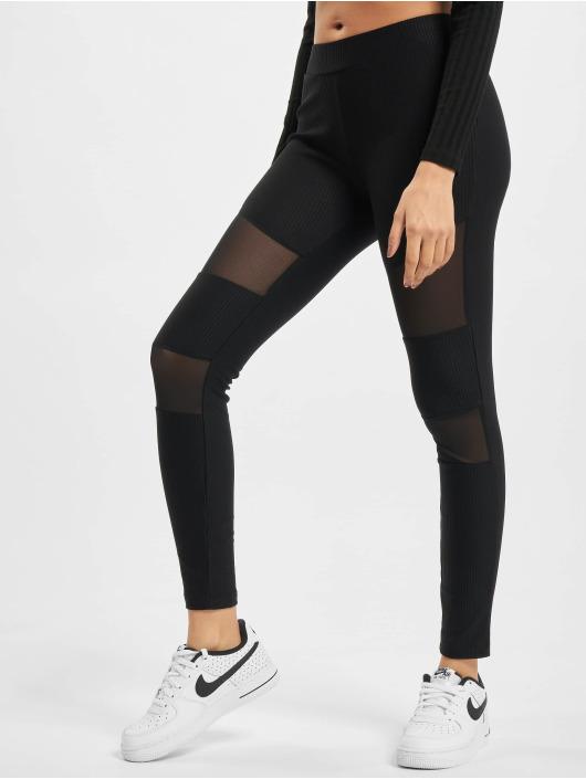 Urban Classics Leggings/Treggings Tech Mesh Rib czarny