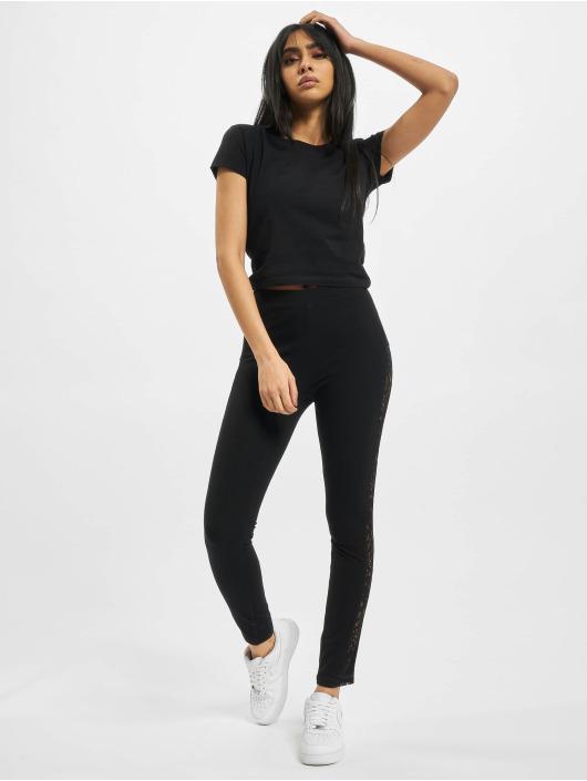 Urban Classics Leggings/Treggings Ladies Lace Striped czarny