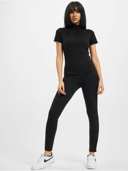 Urban Classics Leggings/Treggings Ladies Flock Lace Stripe czarny
