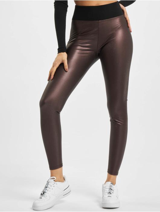Urban Classics Leggings/Treggings Ladies Faux Leather High Waist czerwony