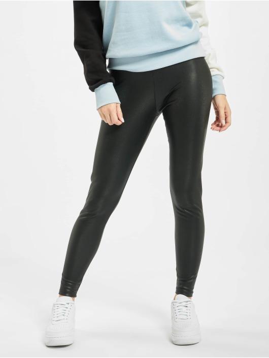 Urban Classics Leggings/Treggings Ladies Faux Leather High Waist sort