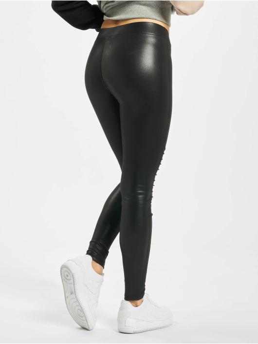 Urban Classics Leggings/Treggings Ladies Faux Leather Biker svart