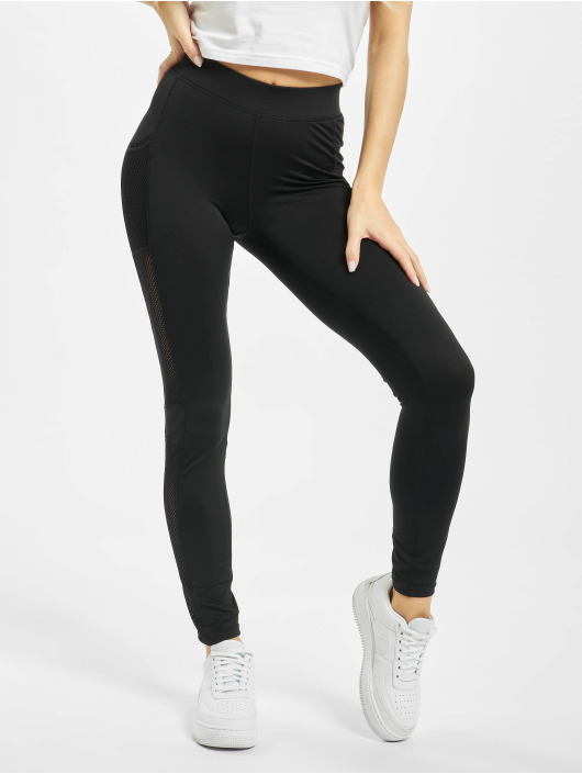 Urban Classics Leggings/Treggings Ladies Mesh Side Stripe svart