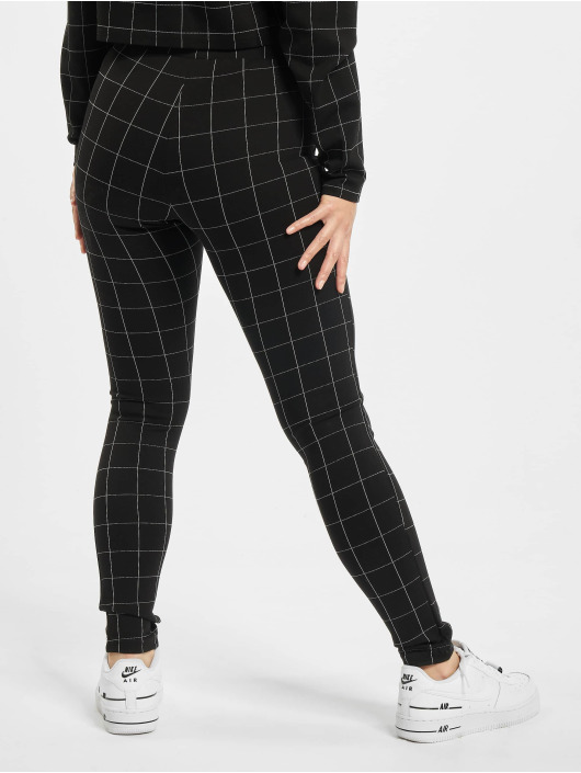 Urban Classics Leggingsit/Treggingsit Ladies Check High Waist musta