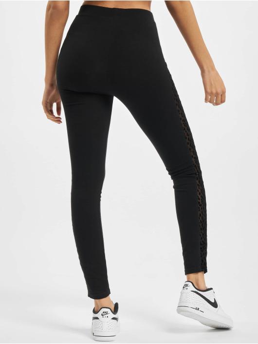 Urban Classics Leginy/Tregginy Ladies Flock Lace Stripe čern