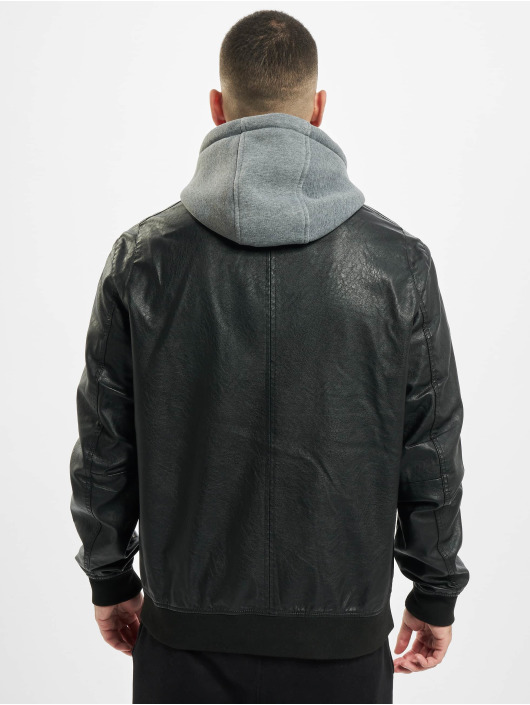 Urban Classics leren jas Fleece Hooded Fake Leather zwart