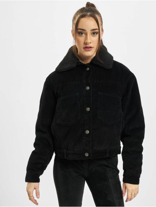 Urban Classics Lightweight Jacket Ladies Oversized Corduroy Sherpa black