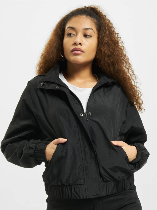 Urban Classics Lightweight Jacket Oversized Shiny Crinkle Nylon black