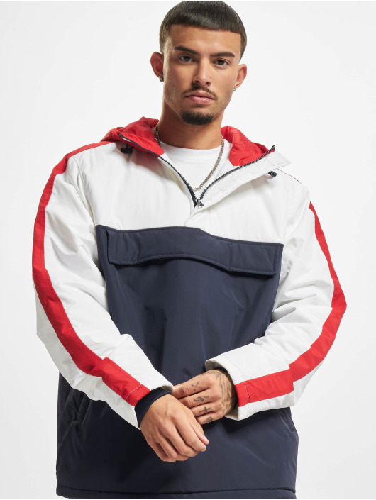 Urban Classics Lightweight Jacket 3-Tone Padded Pull Over Hooded blue