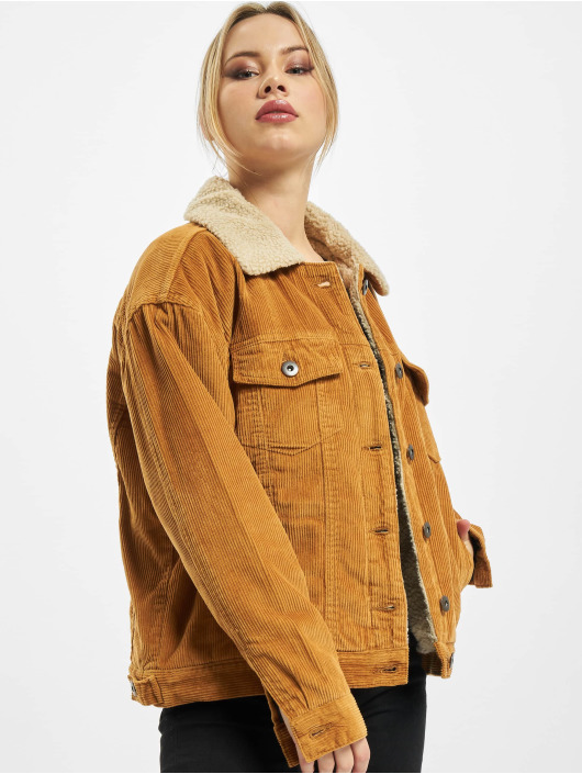 Urban Classics Lightweight Jacket Ladies Oversize Sherpa Corduroy brown