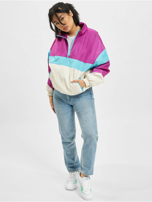 Urban Classics Lightweight Jacket 3-Tone Stand Up Collar Pull Over purple