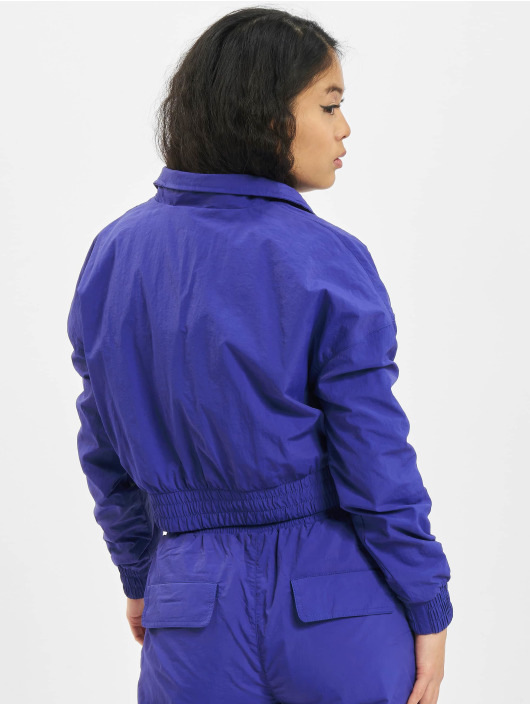Urban Classics Lightweight Jacket Ladies Cropped Crinkle Nylon Pull Over purple