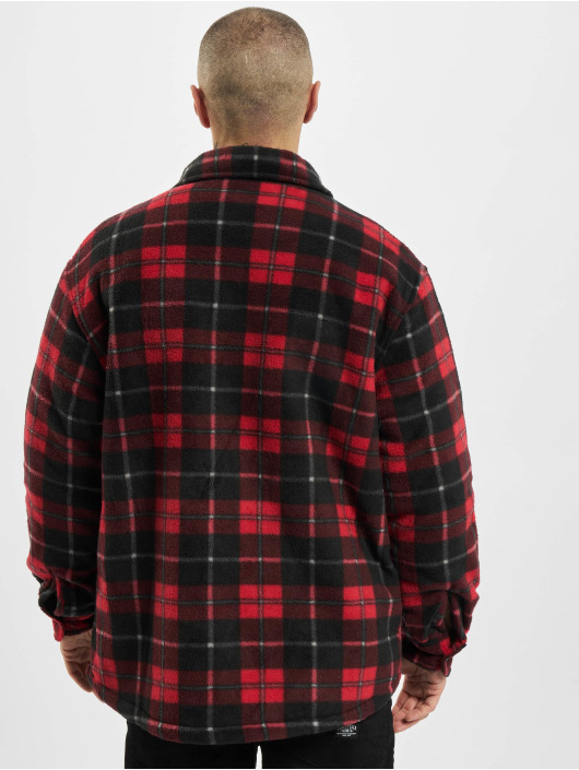 Urban Classics Lightweight Jacket Plaid Teddy Lined red