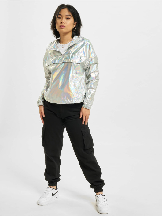 Urban Classics Lightweight Jacket Holographic Pull Over silver colored