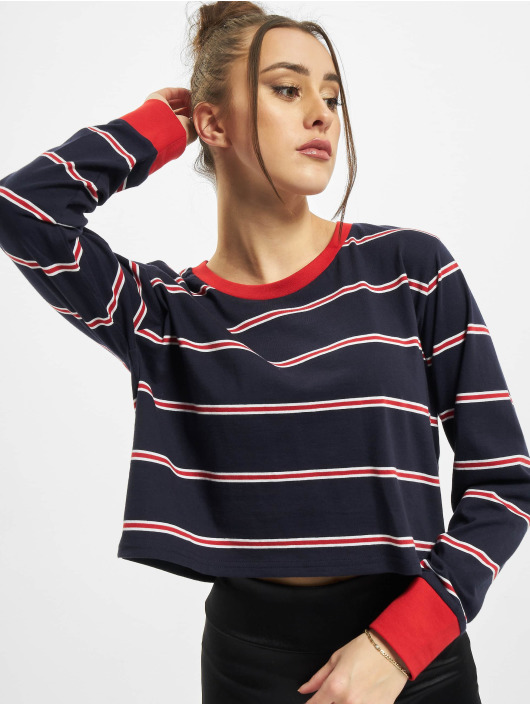Urban Classics Longsleeve Ladies Short Yarn Dyed Skate Stripe LS blauw